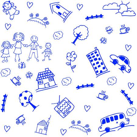 family holiday: happy family holiday doodle art