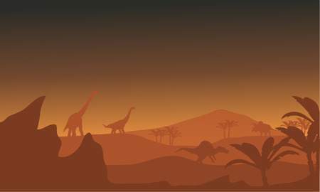 triassic: Silhouette of dinosaur in fields at the afternoon Illustration
