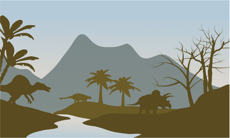 triceratops: Silhouette of dinosaur in riverbank at the morning