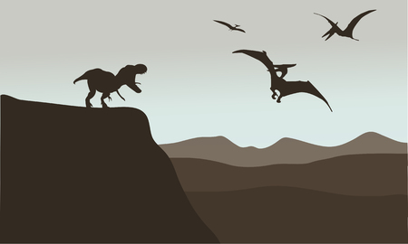 pterodactyl: Silhouette of pterodactyl and tyrannosaurus