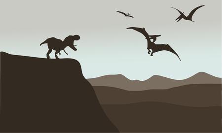 pterodactyl: Silhouette of pterodactyl and tyrannosaurus