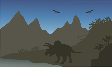 riverbank: Silhouette of pterodactyl and triceratops in the riverbank