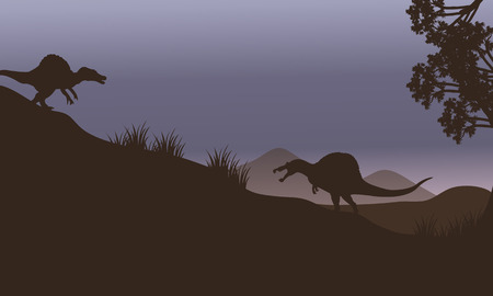 spinosaurus: Silhouette of two spinosaurus in fields at the night
