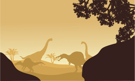 triassic: Silhouette of Brachiosaurus and spinosaurus at the afternoon