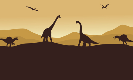 brown backgrounds: Silhouette of many dinosaur in hills with brown backgrounds Illustration