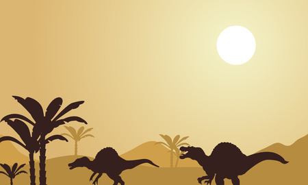 noon: Silhouette of spinosaurus at noon in the park Illustration