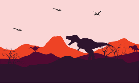tyrannosaur: Silhouette of one T-Rex in hill with moouontain backgrounds Illustration