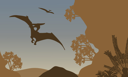 pterodactyl: Silhouette of pterodactyl flying in forest at the afternoon Illustration