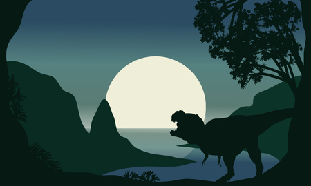 riverbank: Silhouette of one tyrannosaurus and moon in the riverbank Illustration