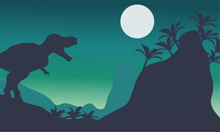tyrannosaur: Beautiful scenery tyrannosaurus at the night with moon Illustration