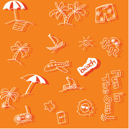 scribe: Holiday beach doodle art with orange backgrounds