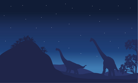 Silhouette of two brachiosaurus with star and blue backgrounds