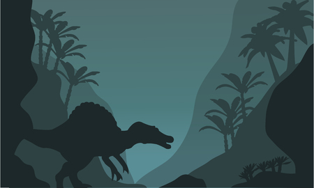 eater: Single spinosaurus of silhouette at the night