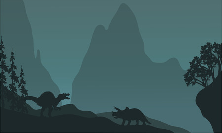 triassic: Silhouette of triceratops and spinosaurus at the night Illustration