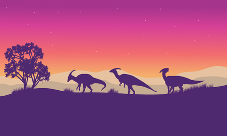 titan: Parasaurolophus in hills scenery at the afternoon