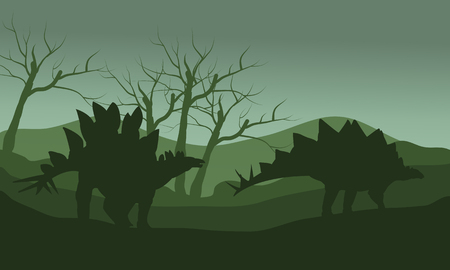stegosaurus: Silhouette of stegosaurus in hills with green backgrounds Illustration