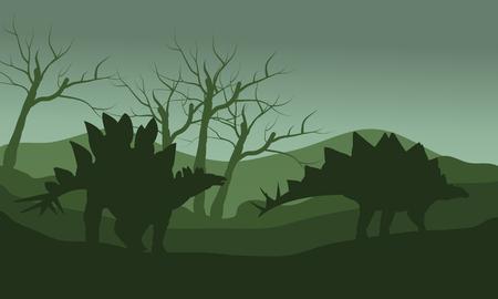 stegosaurus: Silueta de estegosaurio en colinas con fondos verdes