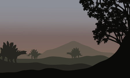 gigantic: Silhouette of stegosaurus in fields with fog Illustration