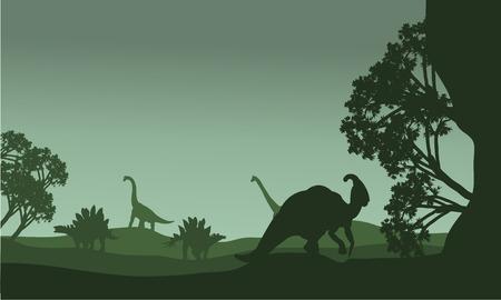 stegosaurus: Silhouettte of parasaurolophus and stegosaurus in the fields Vectores