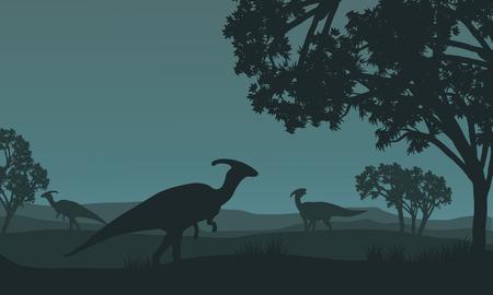herbivorous animals: Silhouette of parasaurolophus walking in fields at night