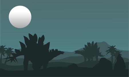 stegosaurus: stegosaurus and moon silhouette at the night