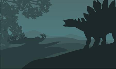 stegosaurus: silueta estegosaurio individual en colinas hermoso paisaje