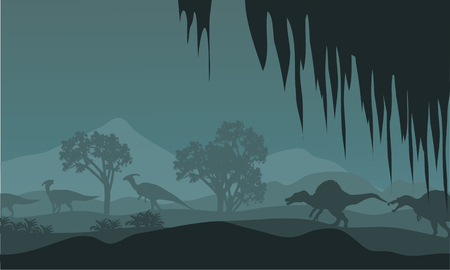 spinosaurus: Silhouette of parasaurolophus and spinosaurus at night