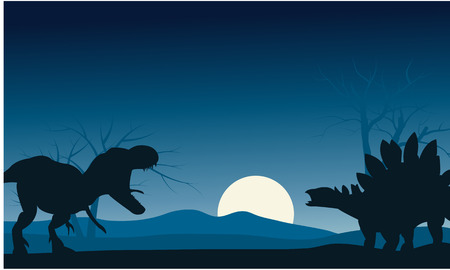 gigantic: Silhouette of stegosaurus and T-Rex with moon