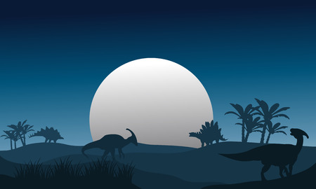 behemoth: Silhouette of stegosaurus and parasaurolophus with full moon