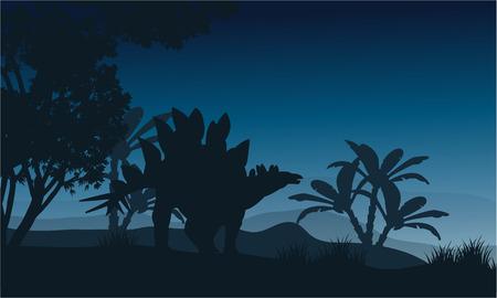 stegosaurus: Silhouette of one stegosaurus in fields at night