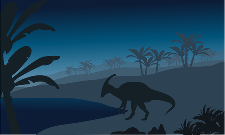 behemoth: Silhouette of single parasaurolophus at the night