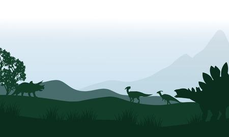 stegosaurus: Silueta de estegosaurio y parasaurolophus en los campos de un hermoso paisaje