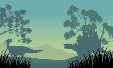 stegosaurus: Dinosaur eoraptor and stegosaurus of silhouette scenery Vectores