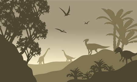 brown backgrounds: Scenery dinosaur of silhouette with brown backgrounds
