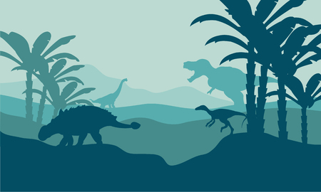behemoth: Silhouette of eoraptor and ankylosaurus with blue bakcgrounds