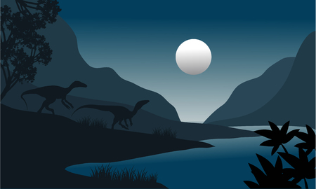 riverbank: silhouette of eoraptor in riverbank at the night