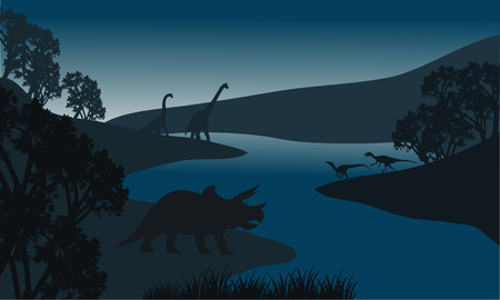 triassic: Landscape dinosaur silhouette in river at the night