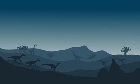 파란색 배경 가진 언덕에서 eoraptor 실루엣 스톡 콘텐츠 - 56798247