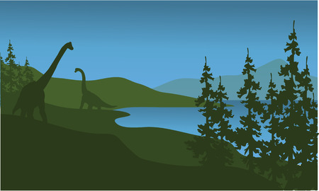Silhouette of brachiosaurus in lake a beautiful scenery Illustration
