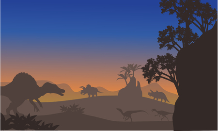 triassic: Silhouette of eoraptor and spinosaurus at the afternooon Illustration