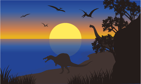 pterodactyl: Silhouette of spinosaurus and pterodactyl at the morning