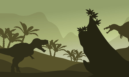 eater: Silhouette of spinosaurus and T-Rex in fields Illustration