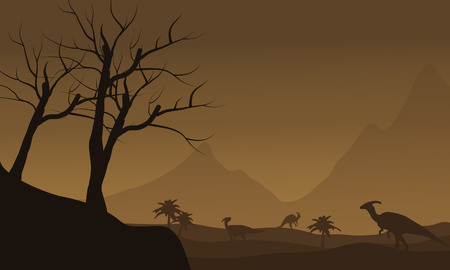 behemoth: Silhouette of many dinosaur in fields with brown backgrounds
