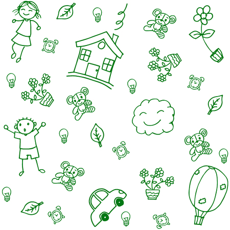 gree: gree child drawing home of doodle art Illustration