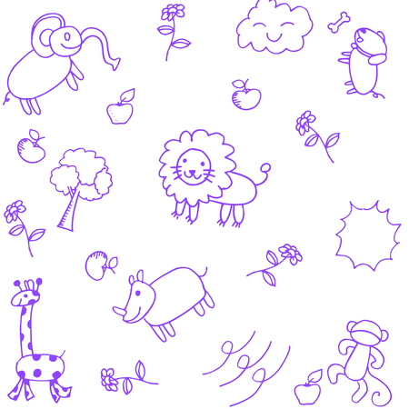 flying monkey: purple Animals doodle set funny for kids