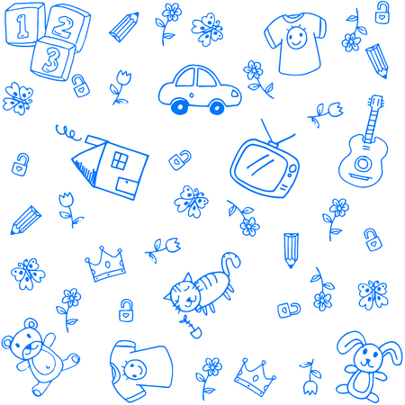 child's: Blue funny draw doodle art for kids