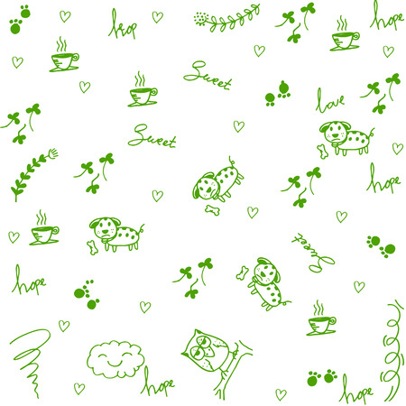 walpaper: Dog and owl doodle art for kids a very happy