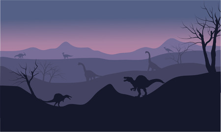 spinosaurus: Silhouette of Brachiosaurus and spinosaurus at the sunset Illustration