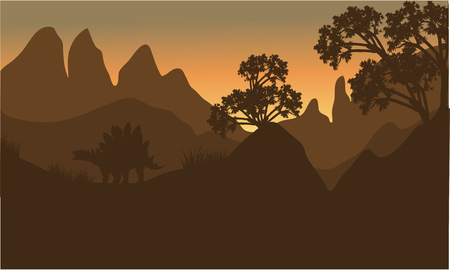stegosaurus: silhouette of stegosaurus in hills with brown backgrounds