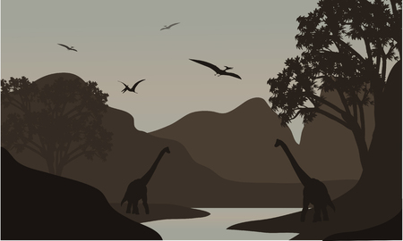 pterodactyl: pterodactyl and brachiosaurus silhouette in river with brown backgrounds